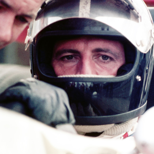 """""""Graham Hill in Silverstone Pits"""" stock image"""