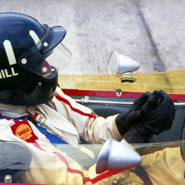 """""""Graham Hill Lotus in the Pits, Silverstone"""" stock image"""