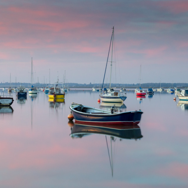 """River Deben Reflections at Sunset"" stock image"