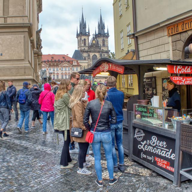 """Prague market on Old Town square In Prague, Czech Republic"" stock image"