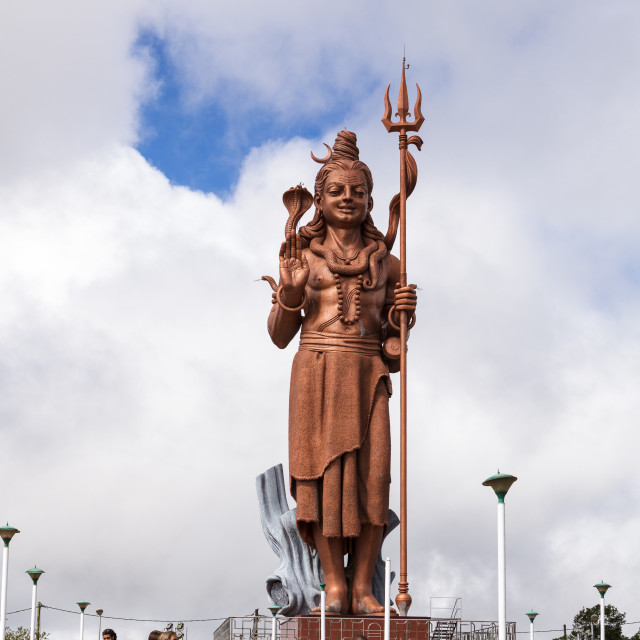 """Towering sculpture of Hindu god Shri Mangal Mahadev, Grand Bassi"" stock image"