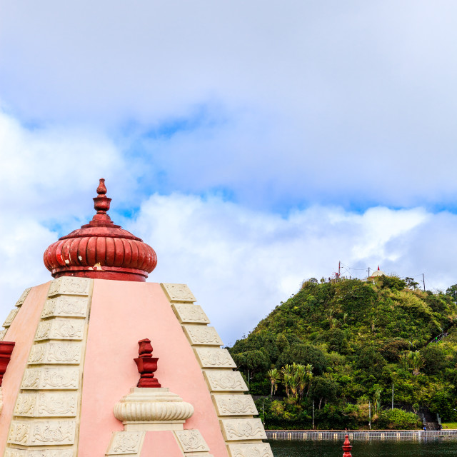 """Domes of temples at 'Ganga Talao', Grand Bassin, Mauritiu"" stock image"