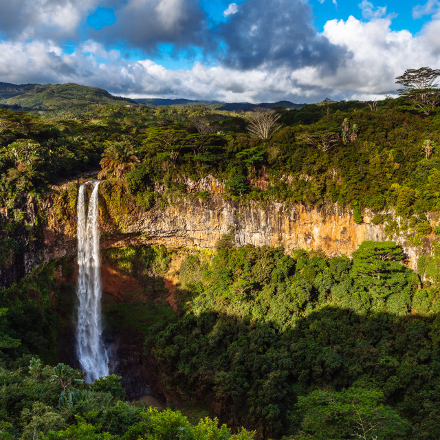 """Chamarel Waterfalls, Black River Gorges National Park, Chamarel,"" stock image"