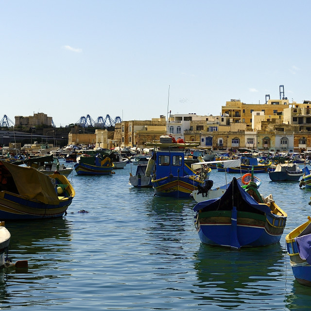 """Fishing boats at peace in teh harbour"" stock image"