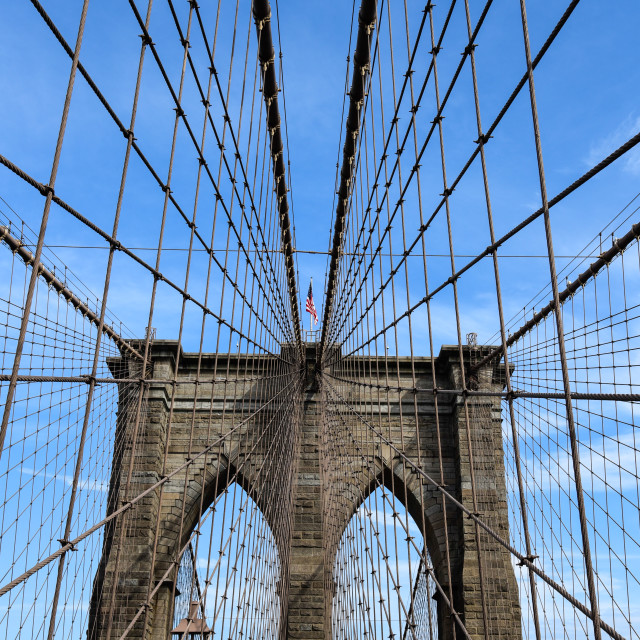 """""""Low angle view of Brooklyn Bridge in New York"""" stock image"""