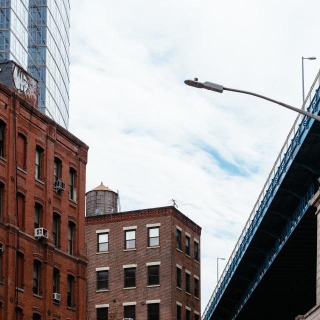 """""""Manhattan Bridge from DUMBO in New York"""" stock image"""