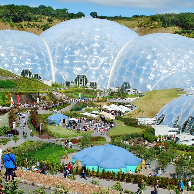 """Children viewing the domes of the Eden project in Cornwall, England."" stock image"