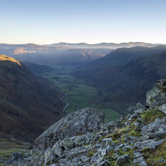 """The Valley of Seathwaite from Base Brown, Lake District, Cumbria"" stock image"