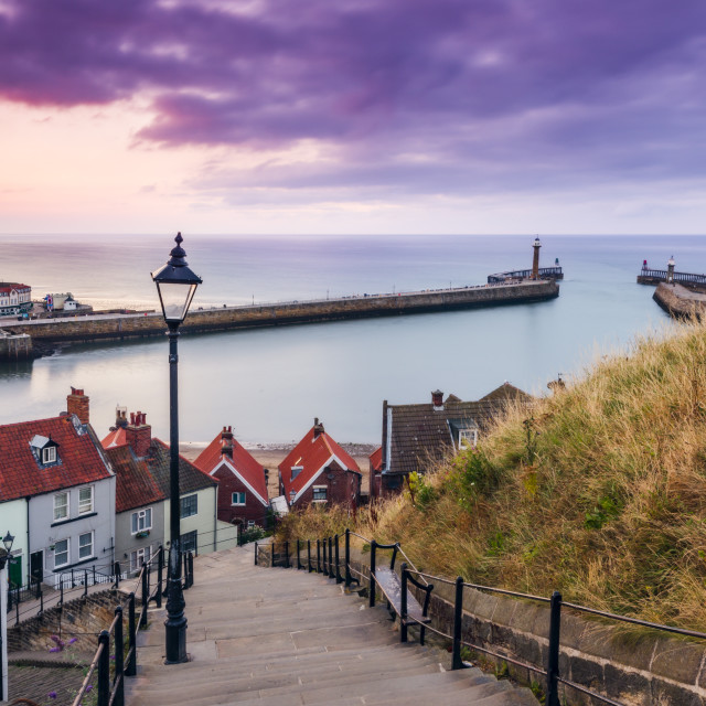 """199 steps Whitby at sunset"" stock image"