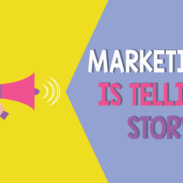 """""""Conceptual hand writing showing Marketing Is Telling Story. Business photo..."""" stock image"""