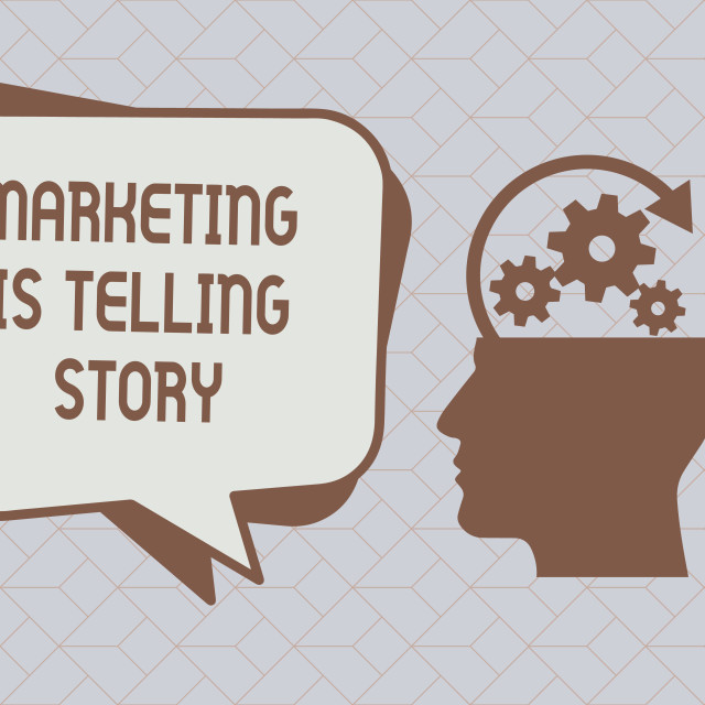 """""""Text sign showing Marketing Is Telling Story. Conceptual photo Breathe Life..."""" stock image"""