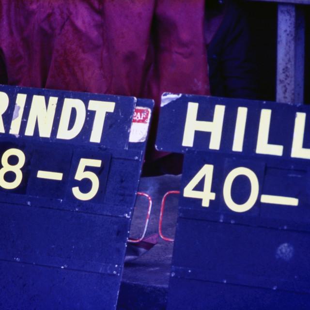 """Lap Boards Silverstone 1969"" stock image"