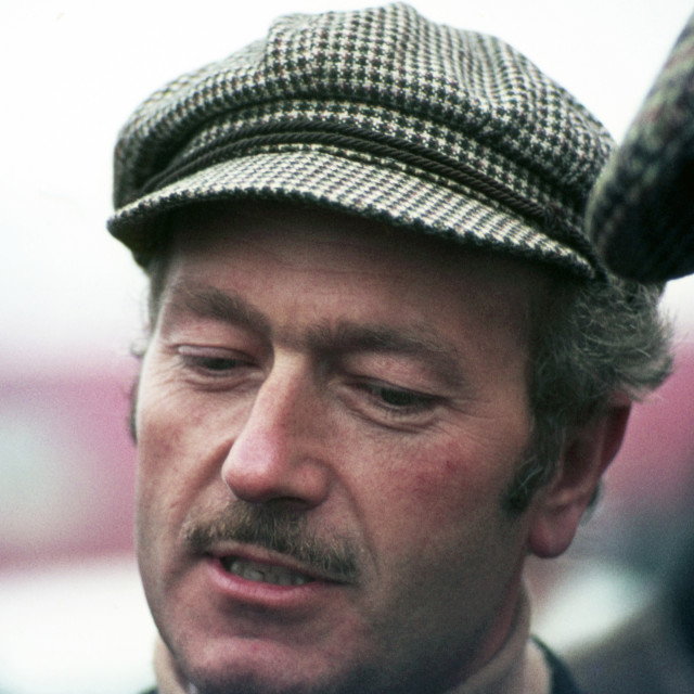 """""""Colin Chapman in discussion, Silverstone 1968"""" stock image"""