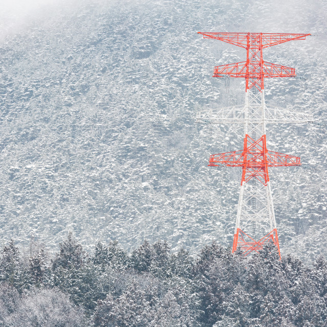 """electric pole Winter Landscape"" stock image"