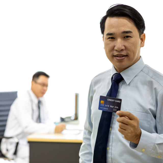 """Patient with credit card for insurance concept"" stock image"