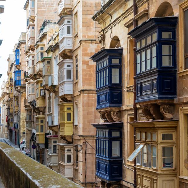 """""""Historic Windows in Valletta, Malta"""" stock image"""