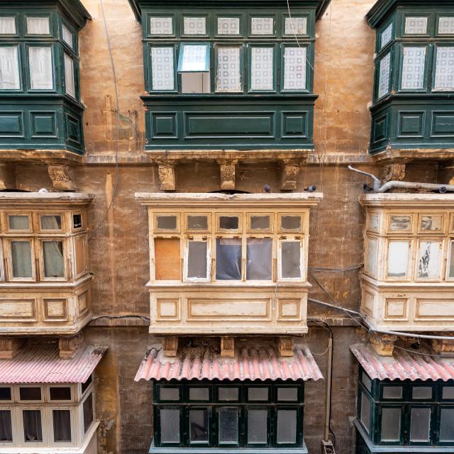 """Building with Historic Windows in Valletta, Malta"" stock image"