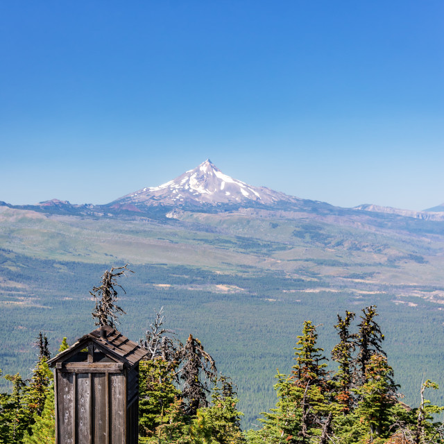 """""""Outhouse and Mt. Jefferson"""" stock image"""
