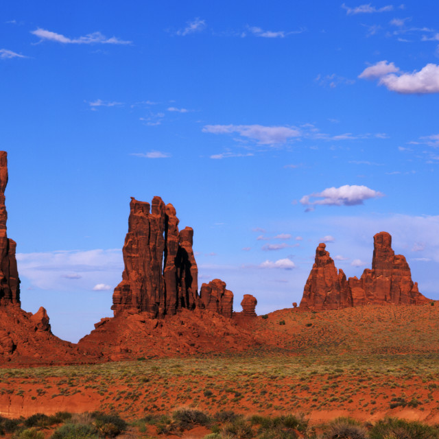 """The Totem Pole and Yei bi Chei Monument Valley"" stock image"