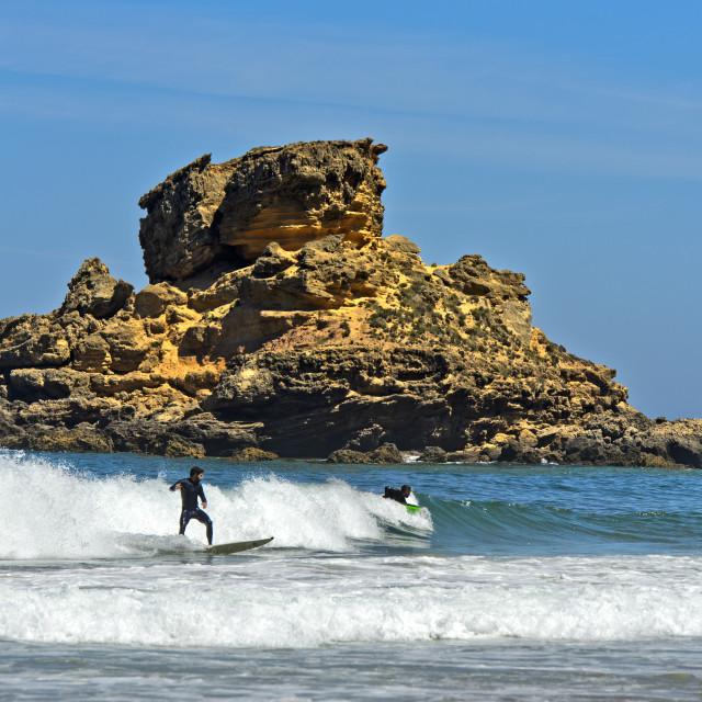 """""""Surfer at the Costa Vicentina coast, Vila do Bispo, Portugal"""" stock image"""