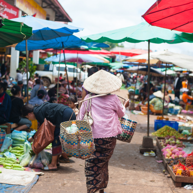 """""""View of a market in Pakse city is the third most populous city in Laos"""" stock image"""