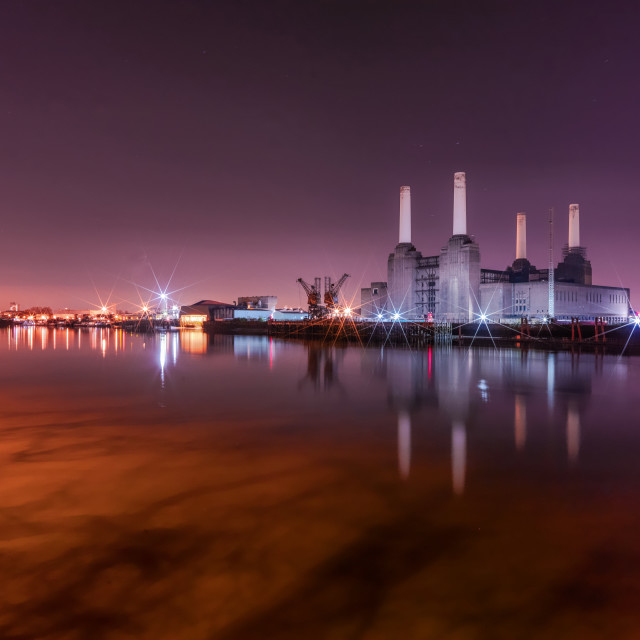 """Battersea Power Station and Thames River"" stock image"