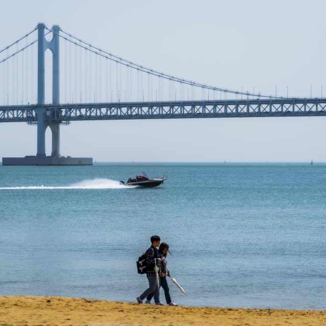 """Gwangandeagyo Bridge - as seen from Gwangali Beach"" stock image"