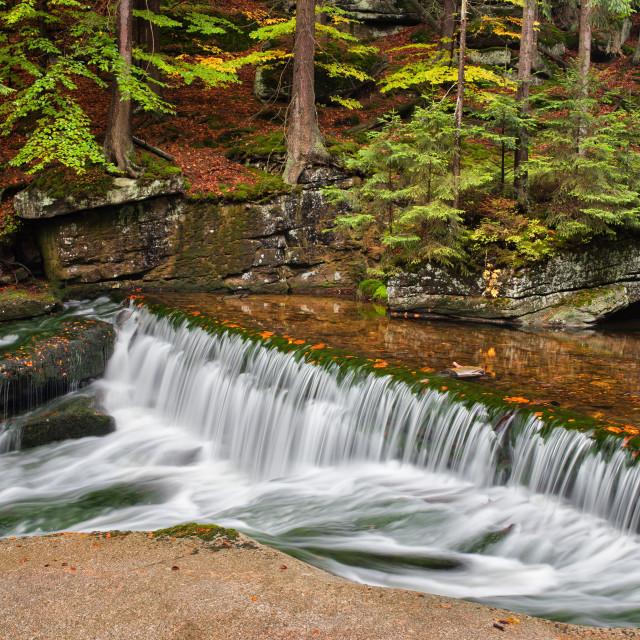 """Water Cascade in Szklarka Stream in Autumn"" stock image"