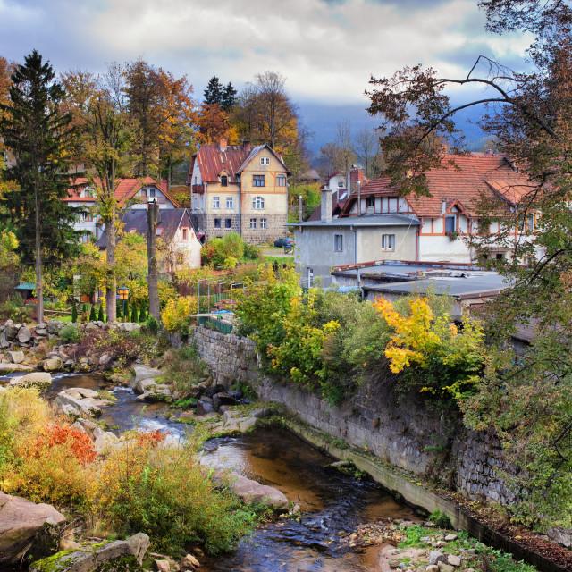 """""""Autumn at Szklarska Poreba Town in Poland"""" stock image"""