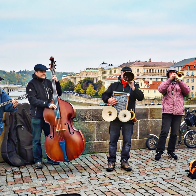 """""""Buskers in Prague"""" stock image"""