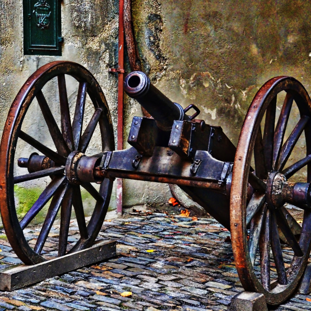 """""""Cannon at the Castle"""" stock image"""