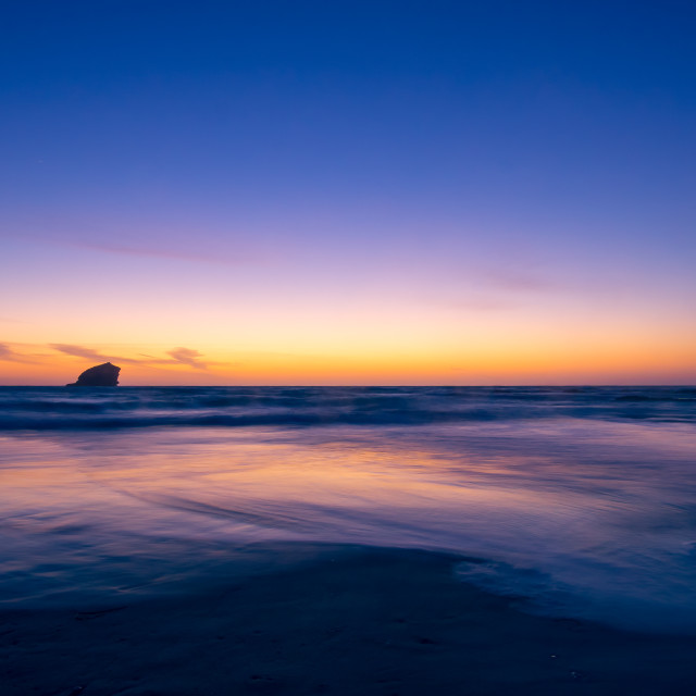 """Portreath Beach at sunset"" stock image"
