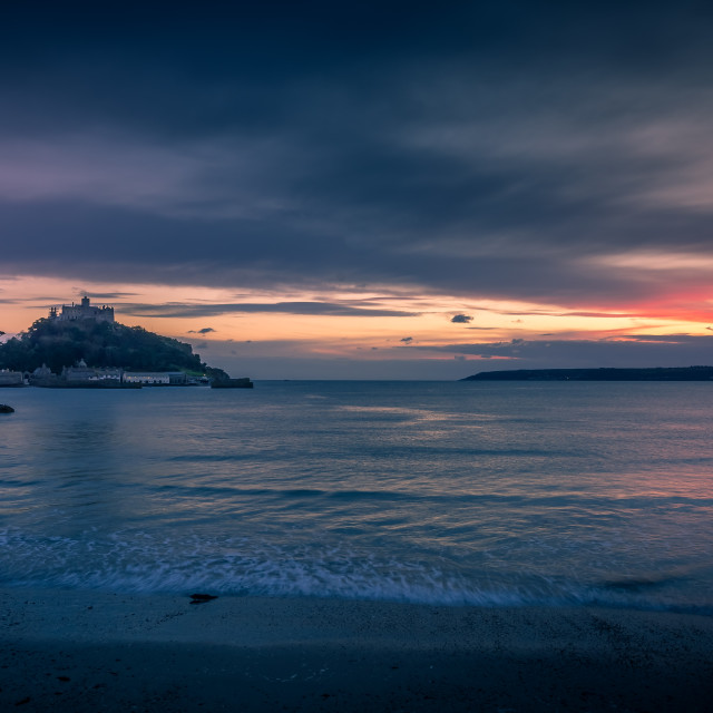 """St Michaels mount sunset"" stock image"