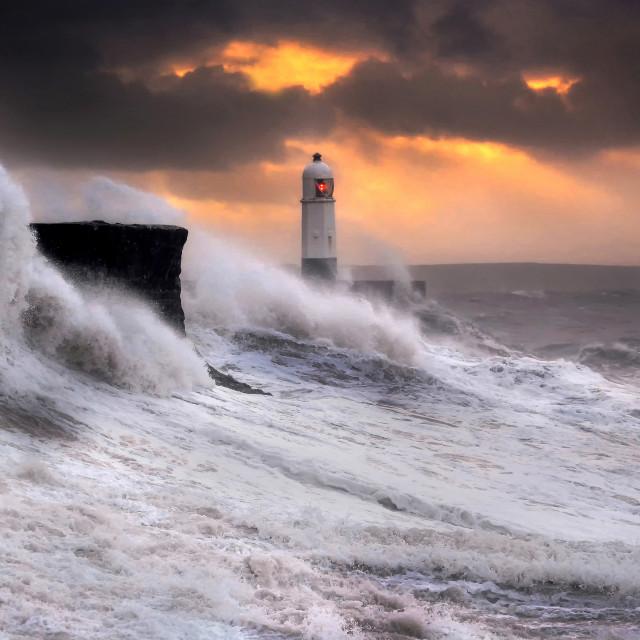 """""""Storm Brian at Sunrise, Porthcawl Lighthouse"""" stock image"""