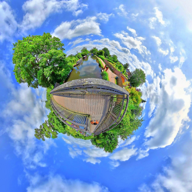 """Newbury Avon Kennet canal (Little Planet View)"" stock image"