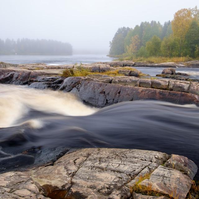 """""""Morning mist at Koiteli rapids"""" stock image"""
