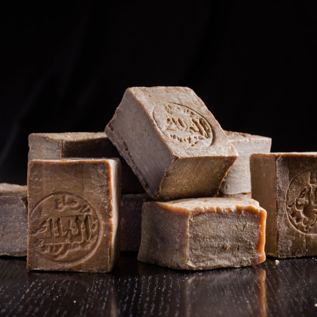 """""""A pile of dried Aleppo soaps, handmade in Syria from traditional methods,..."""" stock image"""