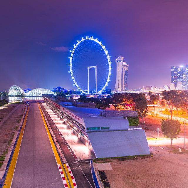 """Singapore, 31 Oct 2018: a night viesw of the Formula One Singapore Grand Prix..."" stock image"