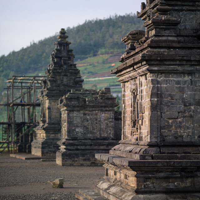 """Candi Arjuna hindu temple, in Arjuna complex, Dieng Plateau, Central Java,..."" stock image"