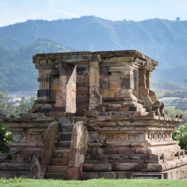 """Candi Setyaki hindu temple, near Arjuna complex in Dieng Plateau, Central..."" stock image"