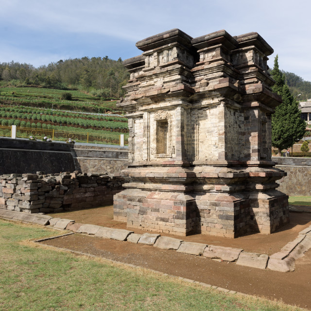 """Candi Gatotkaca hindu temple, near Arjuna complex in Dieng Plateau, Central..."" stock image"