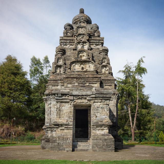 """Candi Bima hindu temple, near Arjuna complex in Dieng Plateau, Central Java,..."" stock image"
