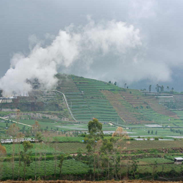 """""""A volcanic sulphur plant releases fumes over Dieng agriculture"""" stock image"""