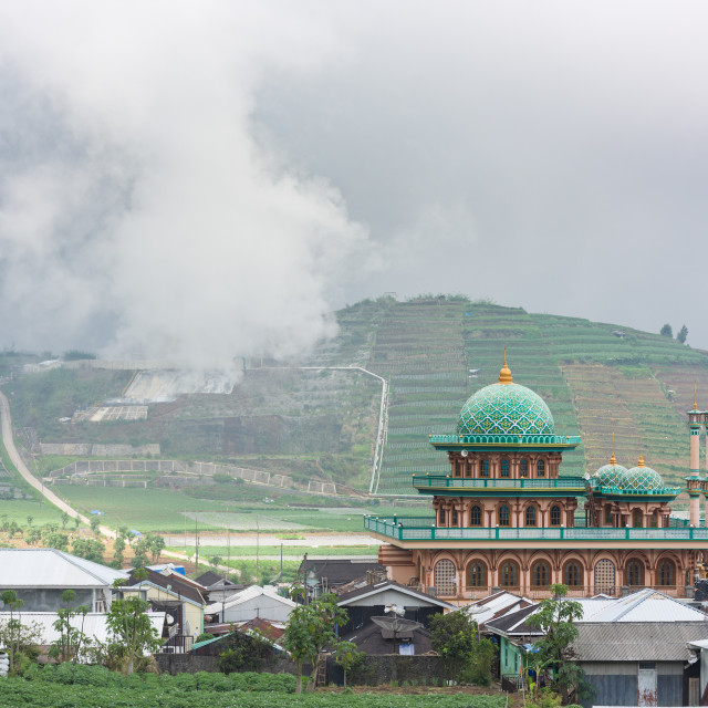 """""""A village mosque appears in front of the rice fields and the sulphur exhausts..."""" stock image"""