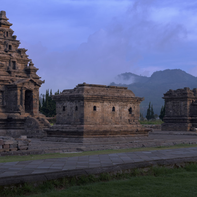 """""""The Arjuna temple complex is an old Hindu sanctuary in Dieng Plateau, Central..."""" stock image"""