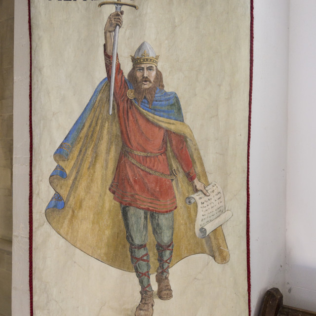 """King Alfred the Great banner, Village parish church of Saint Mary, Kingston..."" stock image"