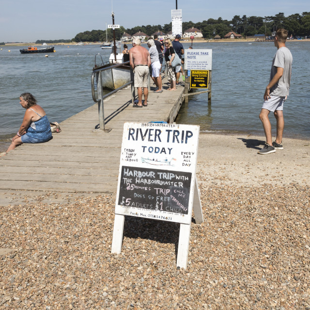 """""""Sign for river trip today on River Deben estuary, Felixstowe Ferry, Suffolk,..."""" stock image"""
