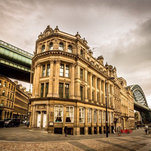 """""""Junction of Sandhill, Side and Akenside, with the Tyne bridge., Newcastle upon tyne"""" stock image"""
