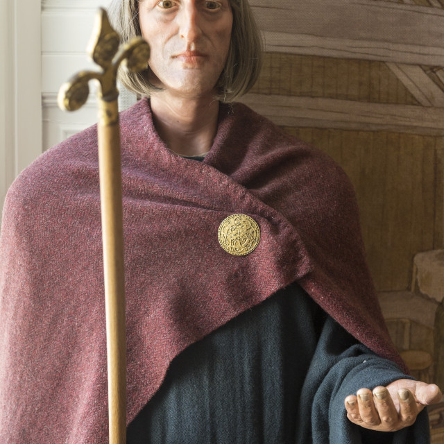 """Alfred the Great ( 849-899) Anglo-Saxon king mannequin display with..."" stock image"