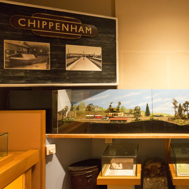 """Display about railway and canal with permission of Chippenham museum,..."" stock image"